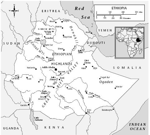 Map of Ethiopia showing locations of Sudan, Somalia, Uganda, Kenya, Saudi Arabia, Red Sea, and Eritrea, 1994. [EASTWORD PUBLICATIONS DEVELOPMENT]