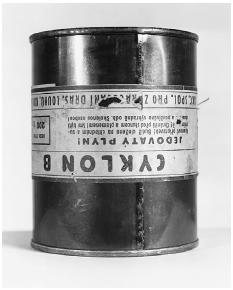 During the investigations that preceded the Nuremberg Tribunal, U.S. and British prosecutors uncovered literally thousands of German documents and artifacts that proved the charges against the defendants. Here, a canister of Zyklon B, seized at