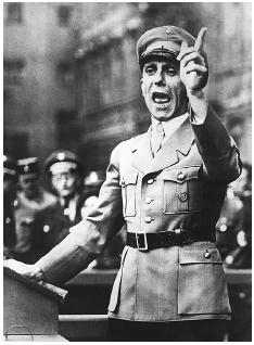 Joseph Goebbels, Hitlers Minister of Propaganda, c. 1940. A passionate advocate of Nazi policies, he stirred anti-Semitism and helped set the stage for the Final Solution. [HULTON-DEUTSCH COLLECTION/CORBIS]