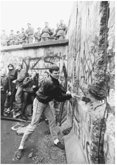 The failure of the USSR to sponsor or support the Universal Declaration of Human Rights in the decades following 1948 played a role in delegitimizing the communist regime and even contributed to its demise. Here, a man with a sledgehammer whack