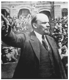 A victorious Lenin greets his supporters. After the Bolshevik Revolution of 1917, and during the ensuing war and famine, Lenin demonstrated a chilling disregard for the sufferings of his fellow countrymen. [GETTY IMAGES]