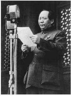 After the communist victory in the long Chinese civil war, Chairman Mao prepares to deliver a public proclamation. Tiananmen Square, 1949. [BETTMANN/CORBIS]