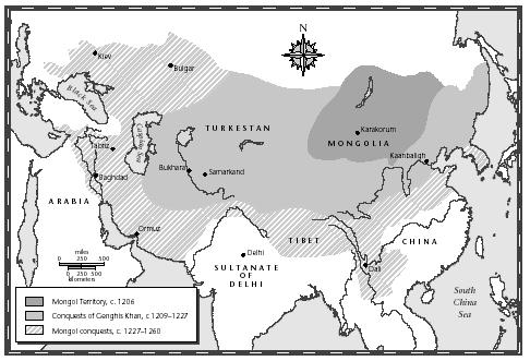 Map outlining Mongol conquests of the thirteenth century. Historians of the time chronicled many of these campaigns as barbarous massacres. [MAP BY XNR PRODUCTIONS. THE GALE GROUP.]
