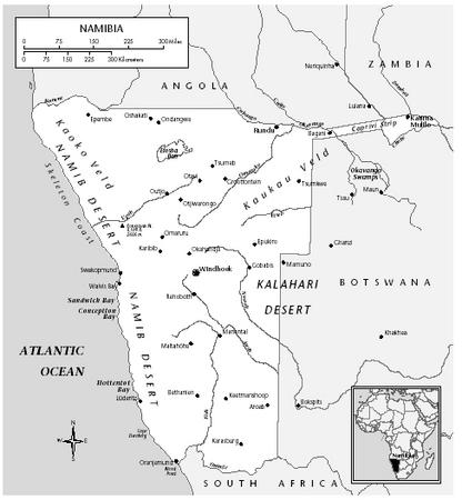 Map of Namibia. It was not until 1988 that South Africa agreed to end its administration of the area. Independence for Namibia came in 1990 following multiparty elections. [EASTWORD PUBLICATIONS DEVELOPMENT]