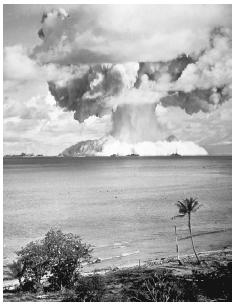 From June 30, 1946, to August 18, 1958, the United States conducted sixty-seven nuclear tests near the Marshall Islands in the South Pacific Ocean. In the first experiment, Able, which is shown here, a B-29 bomber released 23 kilotons of atomic
