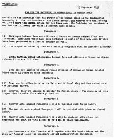 English translation of the original Nazi decree curtailing the rights of Jews. [CORBIS SYGMA]