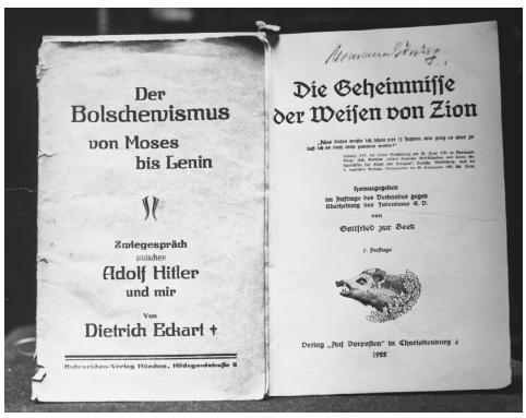 These two books, from the collection of Hermann Gring, are examples of the anti-Semitic literature that flooded Germany in the 1920s and 1930s. Though his influence had greatly eroded by World War IIs end, Gring was one of the earliest particip