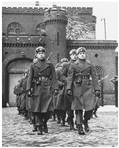 Russian guards in formation outside Berlins Spandau Prison, where former Nazis Rudolf Hess, Albert Speer, and Baldur von Shirach were incarcerated after their 1946 conviction by the International Military Tribunal at Nuremberg. Spandau was demo