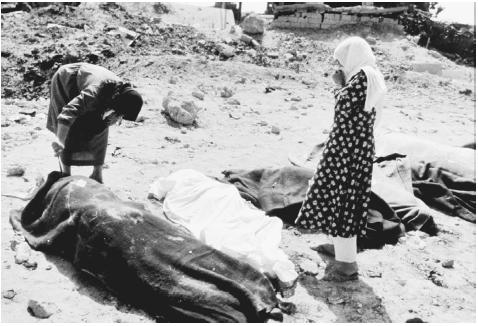 On September 16 and 17, 1982, members of the Lebanese Forces, a Christian-Maronite militia, stormed the Sabra and Shatila Palestinian refugee camps in the southern part of Beirut, the capital of Lebanon. Here, two women inspect the bodies of so