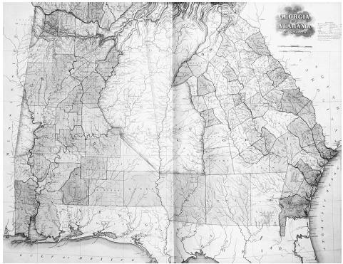 A map of Georgia and Alabama, 1823. As part of its Indian removal policy, the U.S. government forcibly moved Native Americans, during the 1830s, from their homelands in the southeastern United States to lands far west of the Mississippi River.