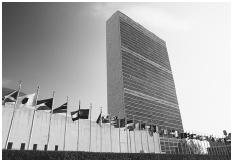 United Nations Headquarters in New York City, framed by the flags of its 191 member nations. Founded in 1945, the United Nations is an international organization committed to maintaining peace and promoting economic development worldwide. [JOSE
