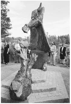 A four-meter-high (13-feet-high) bronze monument to Raoul Wallenberg, the Swedish diplomat who saved tens of thousands of Hungarian Jews in World War II, was unveiled Friday May 28 1999, in the Stockholm suburb Lidingo, where he was born. The s