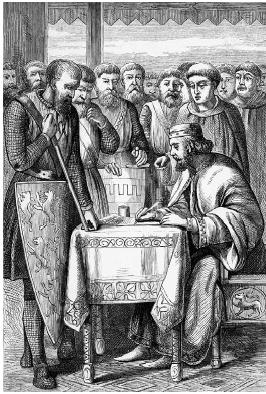 Engraving of King John of England signing the Magna Carta in June 1215. Bettmann/Corbis.