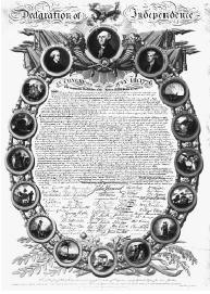 A facsimile of the Declaration of Independence, surrounded by portraits of (from left) John Hancock, George Washington, and Thomas Jefferson, and the arms of the original thirteen states. Library of Congress.