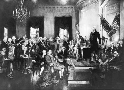 George Washington presides over the signing of the Constitution of the United States on September 17, 1787, in Philadelphia, Pennsylvania. Painting by Howard Chandler Christy. Library of Congress.