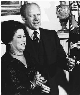 President Gerald Ford stands with the U.S. ambassador to Ghana, Shirley Temple Black, in 1976. Presidents have the power to appoint American ambassadors, with Senate approval. AP/Wide World Photos.