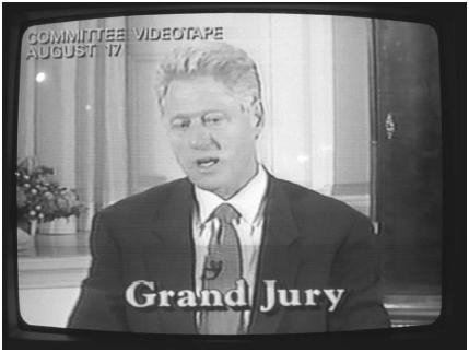 A videotape still shows President Bill Clinton testifying before a grand jury in November 1998. He was impeached a month later. Wally McNamee/Corbis.