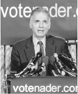 Green Party presidential candidate Ralph Nader speaks at a news conference in 2000. The environmentalist Green Party is just one of many parties that serve as alternatives to the traditional Democratic and Republican parties. AP/Wide World Phot