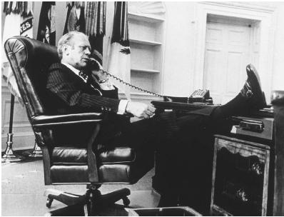 President Gerald Ford in a relaxed mood in the Oval Office in 1974. Getty Images.