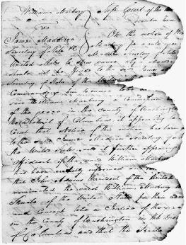 Part of an order served upon Secretary of State James Madison during the Marbury v. Madison case in 1803. The document was damaged in 1898 during a fire in the U.S. Capitol. National Archives and Records Administration.