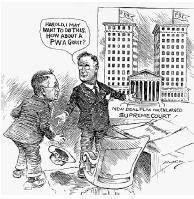 Editorial cartoon shows President Franklin D. Roosevelt suggesting to Secretary of the Interior Harold Ickes that the only way to increase the total number of Supreme Court justices is for the Supreme Court building itself to be enlarged. Ickes