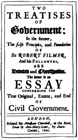 The title page of John Lockes Two Treatises of Government, published in 1689. Library of Congress.