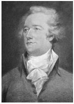 New York delegate Alexander Hamilton published The Federalist, in which he supported a strong federal government. Library of Congress.