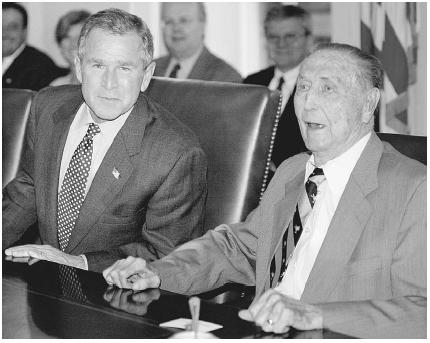 President George W. Bush (left) sits with U.S. senator J. Strom Thurmond of South Carolina in October 2002. As a result of no term limits for U.S. senators, Thurmond was able to serve as a senator for forty-eight years before retiring in Januar