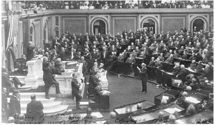 Opening ceremonies of the second session of the 59th Congress in 1905. Joseph G. Cannon of Illinois was the Speaker of the House. Photograph by Frances Benjamin Johnson. Library of Congress.