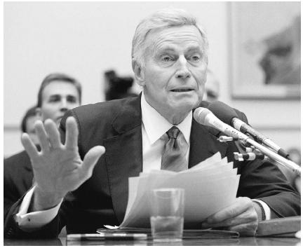 Actor and National Rifle Association (NRA) president Charlton Heston testifies before the House Government Reform subcommittee in November 1999 on the merits of Project Exile, a zero-tolerance policy for gun crimes. The NRA is a high-profile lo
