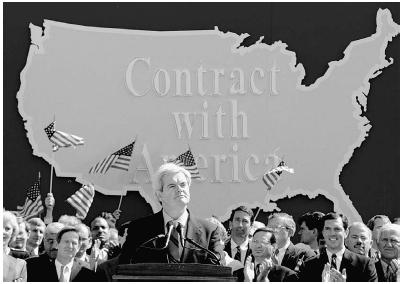 Newt Gingrich, leader of the Republican Partys Contract with America plan, addresses Republican congressional candidates in September 1994, four months before he became Speaker of the House. AP/Wide World Photos.