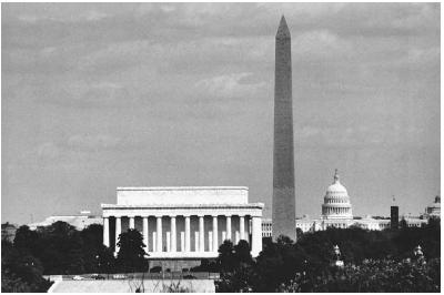 A view of the National Mall in Washington, D.C., shows (left to right) the Lincoln Memorial, the Washington Monument, and the U.S. Capitol. Washington, D.C., Convention Visitors Association.