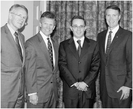 (From left to right) Harry Reid of Nevada, minority leader Tom Daschle of South Dakota, Colombian president Alvaro Uribe, and majority leader Bill Frist of Tennessee meet in March 2004. Less than a year later, following Daschles defeat in the N