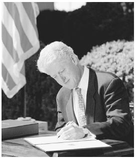 President Bill Clinton vetoes a Republican-backed 792 billion tax cut plan in September 1999. Under the Constitution, Congress may override a presidents veto by a two-thirds vote of both the House and Senate. Reuters/Corbis.