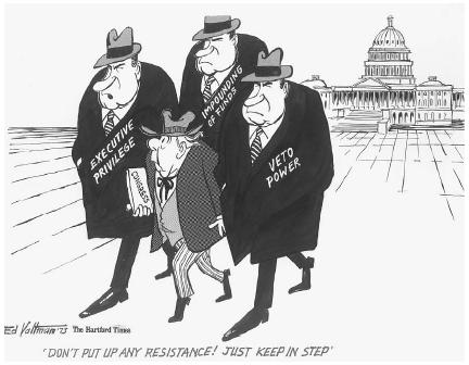 Cartoon shows a small man, labeled Congress, being hustled away from the Capitol by three men resembling President Richard Nixon. Labels on each of the Nixons are executive privilege, impounding of funds, and veto power. Many in Congress believ