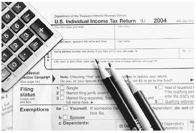 Individual income tax return form for 2004. Nell Redmond/ZUMA/Corbis.