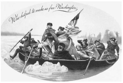 General George Washington crosses the Delaware River with his troops during the Battle of Trenton. Getty Images.