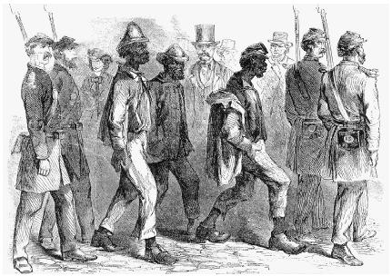 African American vagrants are rounded up in New Orleans, Louisiana, in 1864, a result of the enactment of the Black Codes in Southern states. Granger Collection, New York.