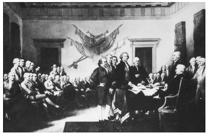 John Trumbulls painting shows the Founding Fathers gathered in 1776 to sign the Declaration of Independence. National Archives and Records Administration.