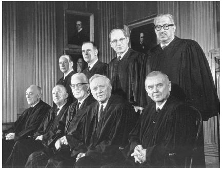 The U.S. Supreme Court on October 23, 1967: (front row, left to right) John Marshall Harlan, Hugo Black, Earl Warren, William O. Douglas, and William J. Brennan Jr.; (back row, left to right) Abe Fortas, Potter Stewart, Byron R. White, and Thur