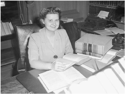 Lucille Lomen, the first woman to serve as a law clerk for a U.S. Supreme Court justice. She worked for Associate Justice William O. Douglas in 1944 and 1945.  Bettmann/Corbis.