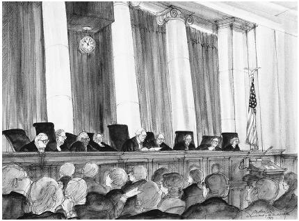An illustration of the 1983 U.S. Supreme Court in session. Justices of that Court were (in alphabetical order) Harry Blackmun, William J. Brennan Jr., Warren Burger, Thurgood Marshall, Sandra Day OConnor, Lewis Powell, William Rehnquist, John P