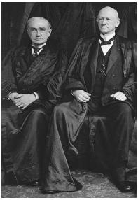 U.S. Supreme Court justices Henry B. Brown (left) and John Marshall Harlan. Getty Images.