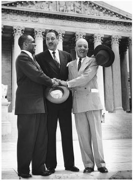 Civil rights lawyers George Hayes, Thurgood Marshall, and James M. Nabrit congratulate each other following victory in the Brown v. Board of Education case in 1954. Library of Congress.