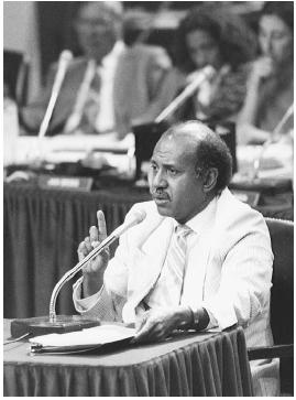Federal judge Alcee Hastings testifies during his impeachment hearing in 1989. He was convicted and removed from office. He later was elected to the U.S. House of Representatives in Florida. AP/Wide World Photos.