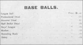 An advertisement for baseballs from the hade catalog of Horace, Partridge & Co., from about 1891.