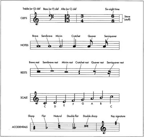 Types of musical notation.