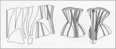 The basic pattern and construction of an eighteenth-century corset.
