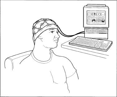 A man undergoing an EEG, wearing a cap equipped with electrodes.