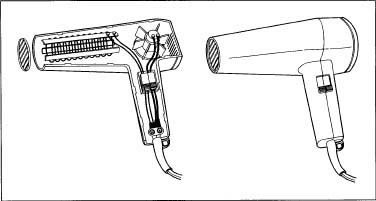 A hair dryer and its internal parts.